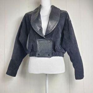 Vintage Aquascutum London Leather bomber coat